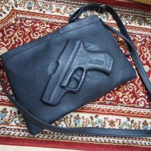 Gun Imprint Black Clutch Bag